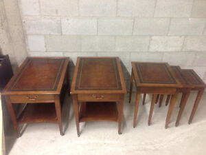 2 Antique coffe tables and 3 cigogne tables