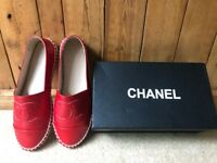 Ladies Red leather Espadrilles Chanel style size 6
