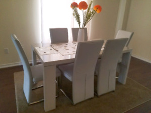 Venice 7 Piece Dining and Chair Set, Like New Condition