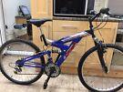 "Cross adults mountain bike. 18"" frame. 26"" wheels. Full suspention"