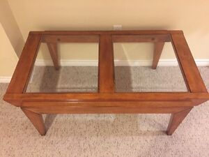 Glass and wooden table