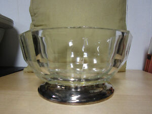 Birk's Crystal Salad Bowl with Silver Base
