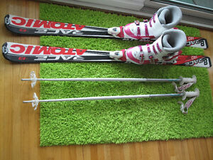 140 cm Atomic Race 8 Skis with 24.5 Mondo size Boots & Poles