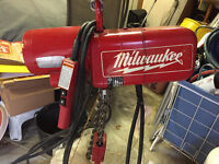 Milwaukee 2 ton Electric Hoist - Sell or trade for Snap On tools