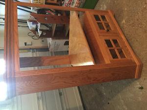 Solid oak corner entertainment unit