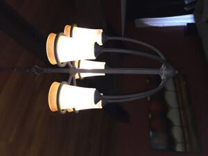 Black iron and glass chandelier