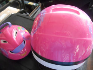 girl's and matching dolls bike helmets-pink