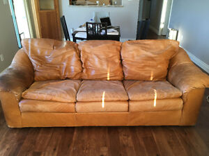 Leather couch and love seat for free