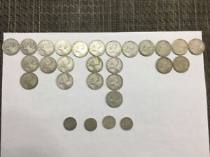 Canadian Silver coins Quarters and Dimes