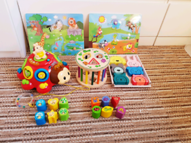 5 sets: vtech Crazy Legs Learning Bug + 4 shapes sorting toys Wooden M