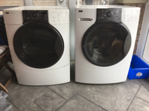 White-and-black front-load dryer