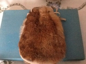 Unique rabbit fur purse