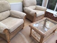 2 conservatory chairs and wicker table