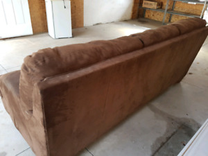 Brown microfiber couch