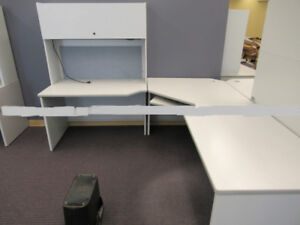 Longer Grey 3-Piece Desk w/Hutch and Light with Covered Shelves