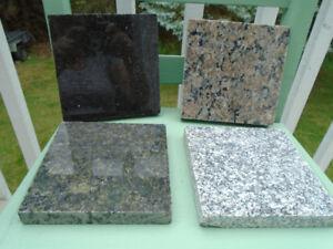 4 carrés de granit différentes couleurs 6 x 6 pouces  pour 10$