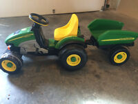 John Deere pedal bike with hauling trailer