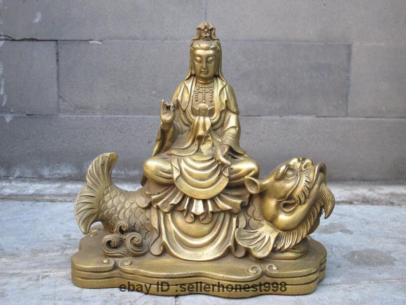 Tibet Buddhism Brass Copper Guan Yin Ride on Dragon Fish Goddess Boddhisattva