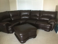 Brown all leather sectional