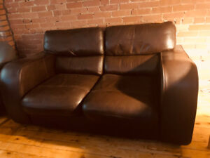 Dark brown, genuine leather, two-seater sofa