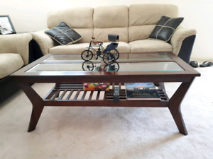 Brown Coffee Table w/ Matching Side Table