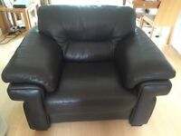 2 seater leather sofa, chair and footstool