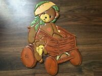 Vintage 1960s kids wooden bear Trolly wall plate rare collectable