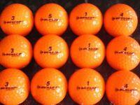 50 Mixed Brand Orange (Winter) Golf Balls. Pearl Condition