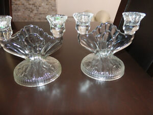 4 ANTIQUE DOUBLE CANDLE HOLDERS
