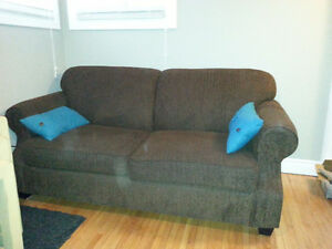 Brown Pullout Loveseat
