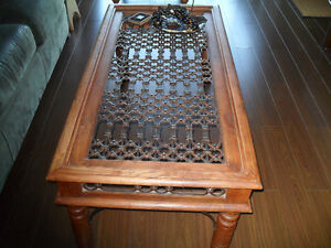 SOLID WOOD & WROUGHT IRON COFFEE TABLE