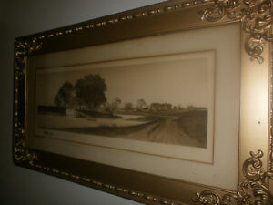 Antique Print Signed E. C. Rost, frame gorgeous