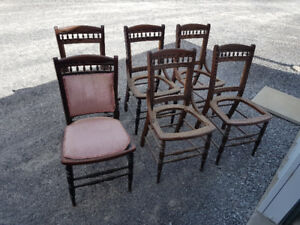 Set of 6 old chair frames