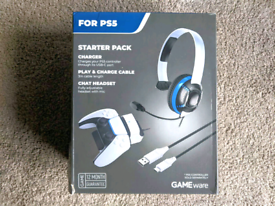 GAME PS5 Starter Kit Headset Dock Charger Cable Controller Playstation