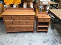 Chest of draws and bed side table