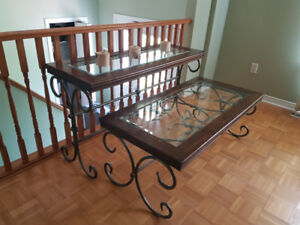 Glass coffee table and two side tables.