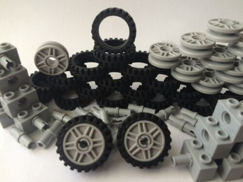 Lego Car Parts 80 Pcs: 20 BLACK Tires 20 GREY Rims 20 GREY A