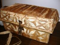 1800s Pony Skin CHEST TRUNK early w/old stirrup & strap MUSEUM Q