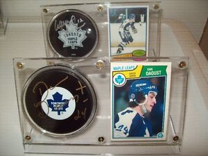 12 Signed NHL Puck and Card Holders $15 each Leafs, Bruins, etc.