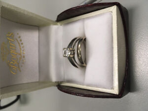 3/4 karat engagement ring size 8 with wedding band
