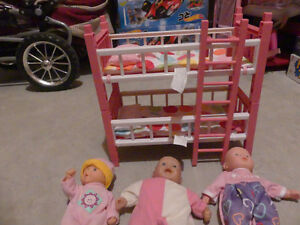Small Doll Bunk Beds & 3 Dolls Kitchener / Waterloo Kitchener Area image 2