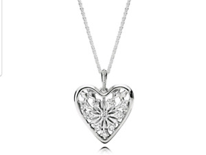 Authentic Pandora Heart of Winter pendant with necklace