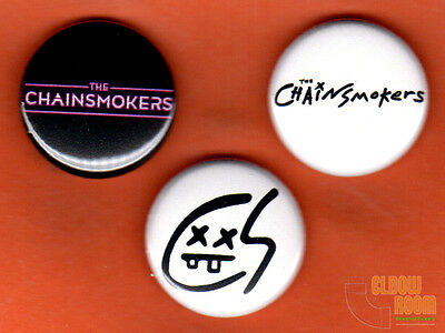Set Of Three 1  The Chainsmokers Pins Buttons Pop Dj Duo Band   Closer Roses