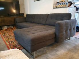Dwell dark grey fabric corner sofa 9ft 6 x 5ft 3