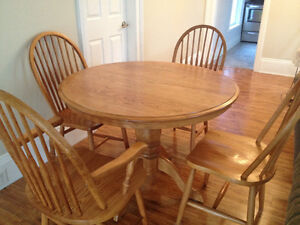Solid Oak Dining Table Six Chairs Two Extensions Cobourg