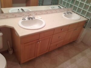 Bathroom cabinets, countertops and jacuzzi