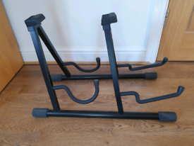 Giraffe double guitar stand for acoustic and electric guitar
