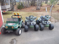Two children's ATVs and Jeep