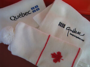 Canada Maple Leaf Knit Hat and Quebec Scarves