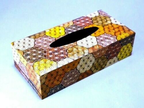 Hakone Yosegi Marquetry Parquet Tissue Paper Box Kikko Hexagonal Tortoiseshell